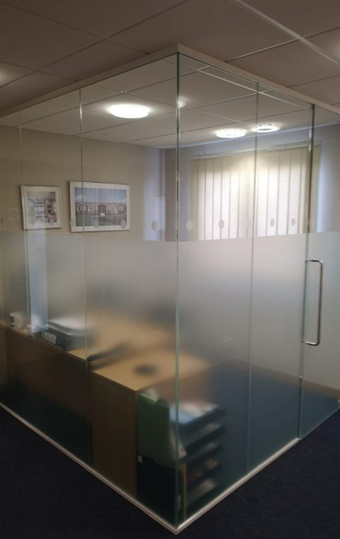 Corner office glass partition wall Northamptonshire