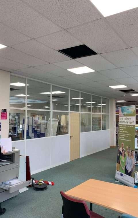 Library refurbishment, Office Partition wall Cambridgeshire